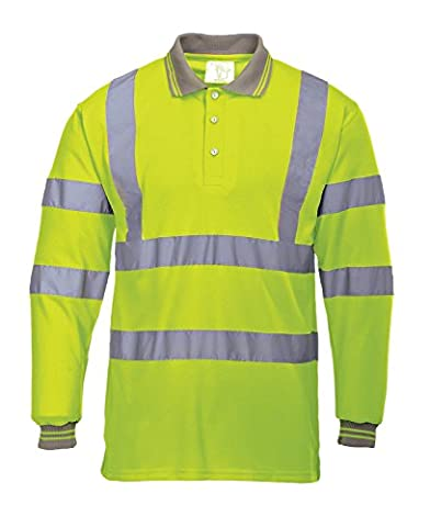 A & B Traders Hi Viz Vis High Visibility Polo Shirt Reflective Tape Safety Security Work Button T-Shirt Breathable Top Lightweight Double Tape Workwear Plus Big Sizes (4X-Large, Yellow Long Sleeve)