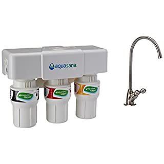 Aquasana AQ-5300.55 3-Stage Under Counter Water Filter System with Brushed Nickel Faucet by Aquasana