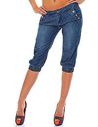 Stitch & Soul Damen Capri Jeans Shorts LSS-040 mit niedrigem Hüftsitz
