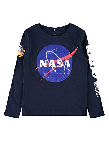 NAME IT Camiseta Manga Larga NIÑO NASA - 122-128, Negro