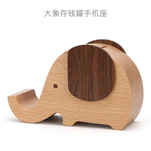 Image of Lwcx Holz- Elephant Handy Sparschwein Bluetooth Handy Halter