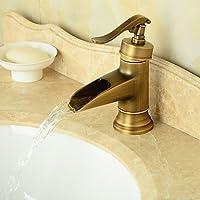 [Patrocinado]ZQ Grifo del fregadero cuarto de baño de estilo Vintage bronce antiguo acabado altura baño grifo del fregadero