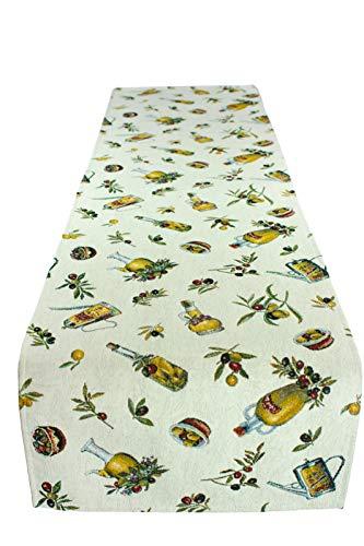 Provencestoffe.com Herrlicher Tischläufer, Gobelin mit Olivenmotiven, ca. 40x140 cm