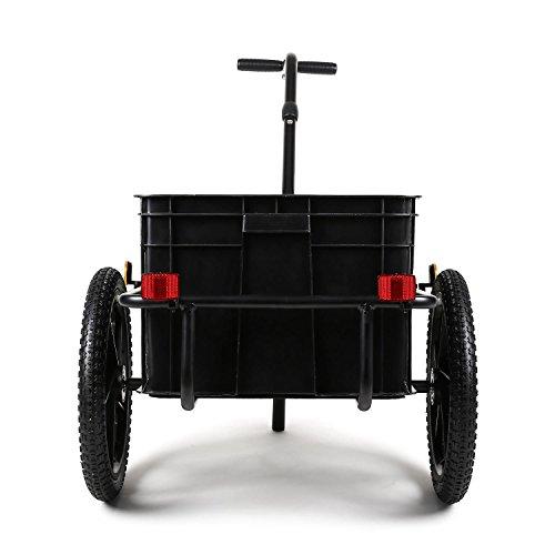 DURAMAXX Big-Mike • Fahrradanhänger • Lastenanhänger • Handwagen • mit Hochdeichsel • Transportbox mit 70 Liter Volumen • Tragkraft: max. 40 kg • Kugel-Kupplung für Fahrräder mit 26'' - 28'' • pulverbeschichteter Stahlrohrrahmen • schwarz - 3