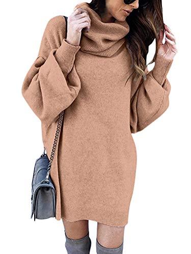 Minetom Pull Robe Courte Femme Hiver Manche Longue Casual Mini Dress Col Roulé Tricot Chandails Blouse Elégant Oversize Lâche Pullover Kaki FR 44