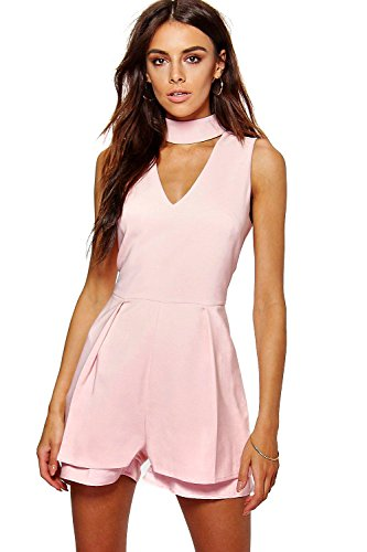 Rose Femmes Alison Double Layer Choker Playsuit Rose