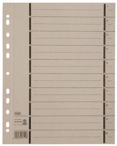 Elba 400004668 Trennblätter mit Perforation, numeriert 1 - 10, Linienaufdruck, aus 250 g/m² Manilakarton, 100 Stück, grau