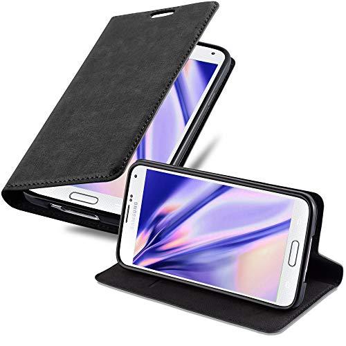 Cadorabo Coque pour Samsung Galaxy S5 Mini / S5 Mini DUOS en Noir Nuit - Housse Protection avec Fermoire Magnétique, Stand Horizontal et Fente Carte - Portefeuille Etui Poche Folio Case Cover