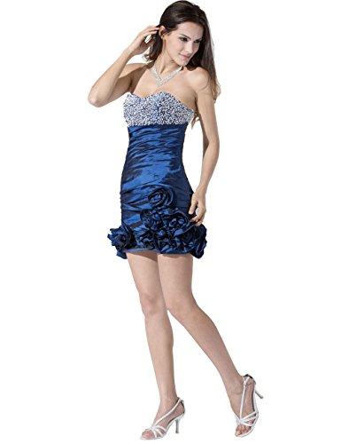 Dresstells, court / mini robe de demoiselle d'honneur en satin, robe de cocktail Bleu Saphir
