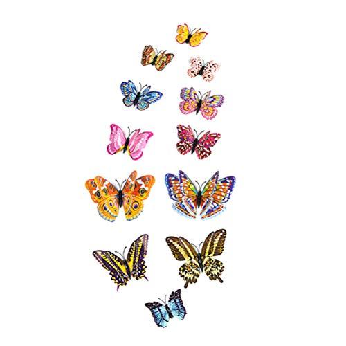 12 UNIDS 3D Simulación Luminosa Mariposa Imanes de Nevera Pegatinas de Pared Calcomanías Arte Decoración Artesanía Extraíble DIY Decoraciones del Hogar 12x6cm