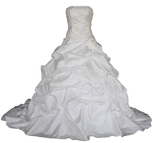 Romantic-Fashion Brautkleid Hochzeitskleid Weiß Modell W055 A-Linie TAFT Perlen Pailletten Blüten DE Größe 36 (Taft Perlen)