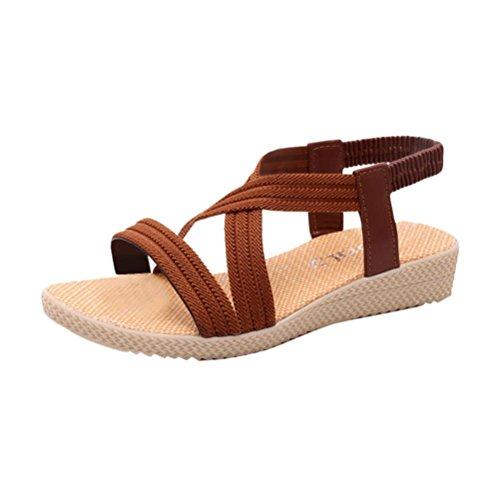 HCFKJ 2017 Mode Frauen Flache Schuhe Verband Bohemia Leisure Lady Sandalen Peep-Toe Outdoor Schuhe Brown