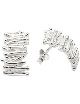 Vinani Damen-Ohrstecker Rechteck mit Rillenmotiv Sterling Silber 925 Ohrringe ORM