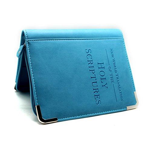 Boshiho Bibeletui, Bibelhülle, glatt, aus PU-Leder, Geschenkidee für Christen blau