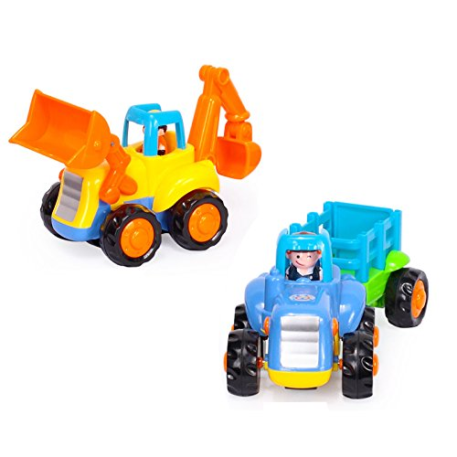 Toyshine 2 in 1 Unbreakable Automobile Engineering Set for Kids - Unbreakable ABS Plastic - Tractor Trolly + JCB Machine