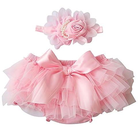 BOBORA Baby Infant Chiffon Ruffle Bloomers Pants Bowknot + Flower Headband Photography Prop Custume