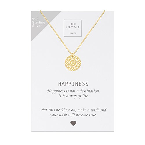 LUUK LIFESTYLE Sterling Silber 925 Halskette mit Mandala Anhänger und Happiness Spruchkarte, Glücksbringer, Damen Schmuck, gold