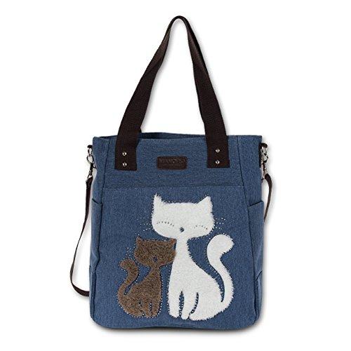 Schultertasche Handtasche blau, jeans Damen Tasche Hobo Beuteltasche Canvas Segeltuch Katzenmotiv OTK217B Jeans Handtaschen