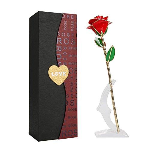 24k vergoldet Echt Rose goldene Rose 24k Gold Langen Stiel Echte Rose mit Standfuß Beste Valentine 's Day Gifts Frau Freundin Geburtstag, Muttertag, Hochzeitstag, Jahrestag, Geburtstagsgeschenk Vergoldete Rose