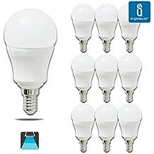 Pack de 10 Bombillas LED P45, 7W, casquillo delgado E14, 490 lumen, luz blanca 6400K
