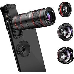 AFAITH Téléphone Caméra Lentille Kit 12X Téléobjectif + 180 Degrés Fisheye + 0.36X Large et 15X Macro Objectif pour iPhone X/XS/XR/8/8 Plus/7 Galaxy Note9/S10/S9/S8 Plus et Autres Smartphones