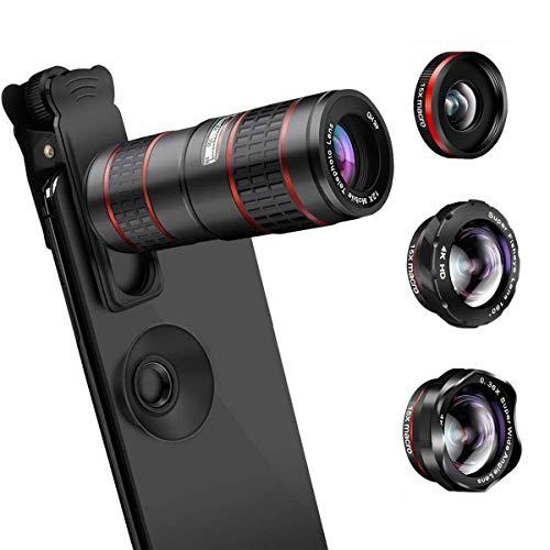 Foto AFAITH Lenti per Cellulare, Obiettivi Smartphone Clip on 5 in 1 Lente Kit 12X Teleobiettivo+Fisheye da 180 °+0.36 Obiettivo Grandangolare e Obiettivo Macro 15x per iPhone X/XS/8, Samsung Note9/S10/S9
