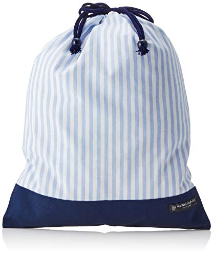 Made in Japan, dark blue, light blue canvas x basic stripe bag clothes gymnastics Re drawstring purse, large gym clothes input (japan import)