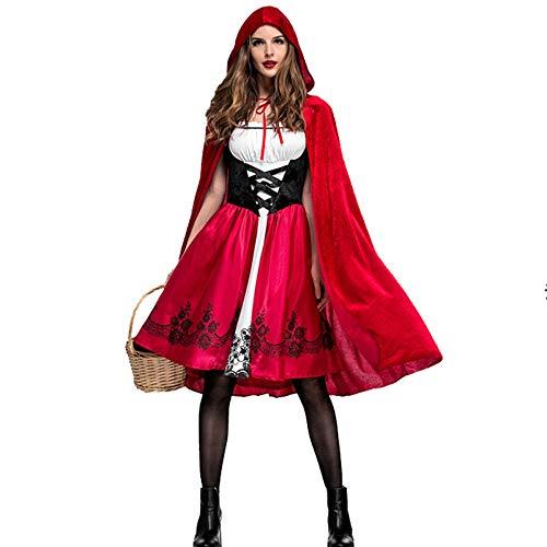 KDWYC Cappuccetto Rosso Adulto da Donna per Carnevale di Halloween Include Vestito + Copricapo (Taglia Unica)