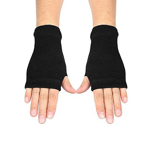 little sporter Damen Strick Handschuhe Winter Fingerlos Handschuhe Warme Fäustlinge Fausthandschuh Für Pulswärmer Armstulpen Handwärmer Schwarz