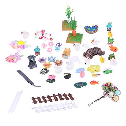 Toyvian 118 stücke Miniatur Garten Decor Zubehör Mini Zaun Tier Puppenhaus Landschaft Ornament DIY Handwerk Home Yard Bonsai Decals