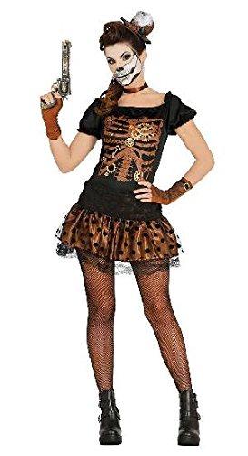 Steampunk Skelett Halloween Kostüm für Damen Retro Halloweenkostüm Retrokostüm Damenkostüm Horror Gr. M-L, Größe:M (Halloween Retro Kostüme)