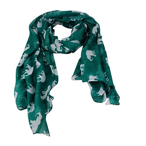 Bobopai Lady Womens Long Cute Elephant Print Scarf Wraps Shawl Soft Scarves (Green)