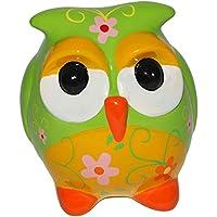 Unbekannt XL Spardose Grüne Eule - Stabile Sparbüchse mit Schlüssel - aus Porzellan / Keramik - Sparschwein Lustig Witzig Bunte Eulen - Reisekasse Urlaub Reisen - für Kinder Mädchen Jungen - preisvergleich