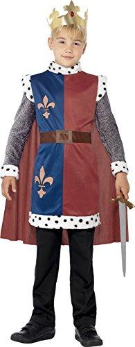 Arthur Kostüm, Mittelalterliche Tunika mit angebrachtem Umhang und Krone, Größe: S, 44079 (King Halloween Kostüm)