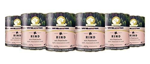 Hundeland Natural   Rind + Pastinake   6 x 800 g   getreidefreies Hundefutter   Nassfutter für alle Hunderassen   viel frisches Fleisch   artgerecht & besonders gut verträglich (Ente Geräucherter)