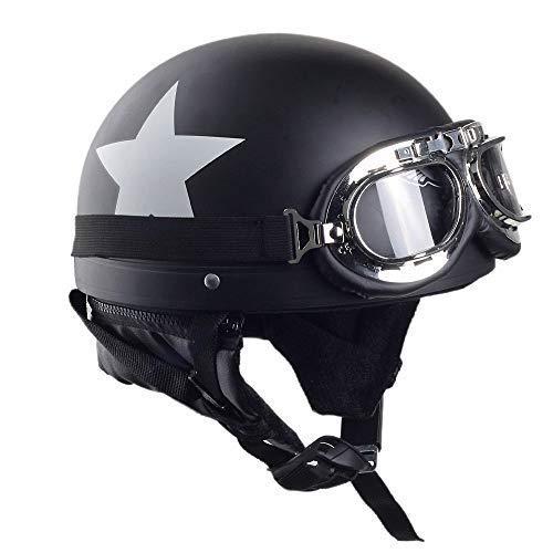 ADEICM Motorrad Helme Fashion Helme Motor Bike Harley Helme Herren und Frauen Helme Hälfte Helme Half-Covered Helme Cruise Helme Prince Helme Black(54-59cm)