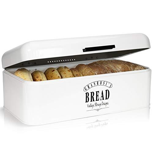 Granrosi Brotkasten im Retro Design - Geräumige Metall Brotbox hält Brot und Brötchen länger frisch und ist EIN optisches Highlight in jeder Küche (Emaille Brotkasten Vintage)