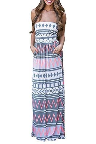 YMING Damen Strandkeid Langes Kleid Boho Blumen Druck Bandeau Kleid,Grau,Gestreift,M / DE 38-40 (Brown Kleid Jeans)