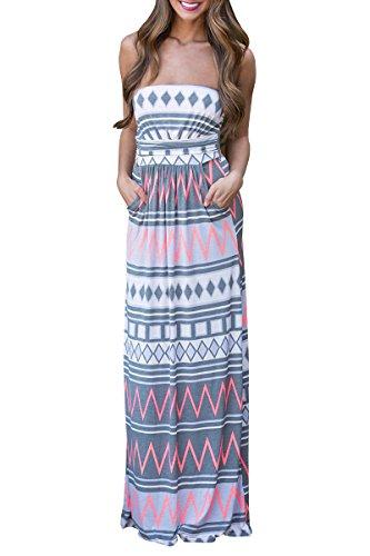 YMING Damen Sommer Kleid Casual Trägerlos Maxikleid Blumenkleid Maxi Langes Kleid,Grau,Gestreift,S / DE 36-38 (Baby Geld Tasche Kostüm)
