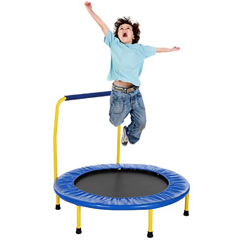 Campaig Sports Sports Trampolin für Kinder mit Griff, Sicherheit im Freien Rebounder Trampolin (Blau)