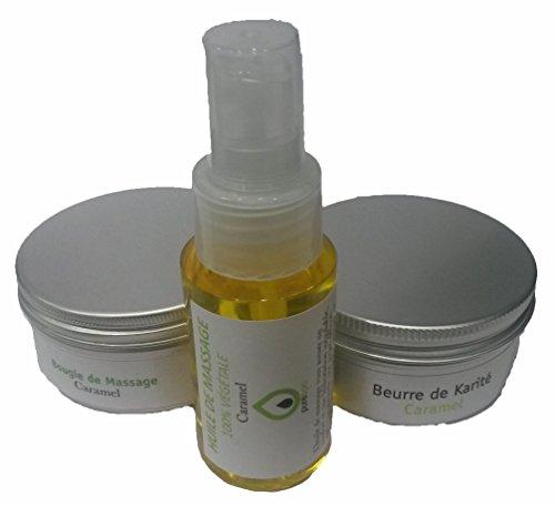 Kit coffret cadeau massage sensuel bien être Caramel avec 1 Bougie de massage Végétale, 1 huile de massage en spray, 1 beurre de karité, 1 trousse