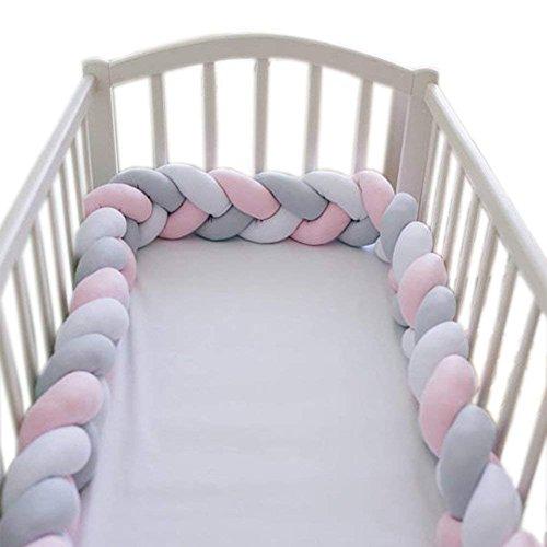Baby Krippe Stoßfänger geknotet geflochten Bettumrandung Babybett Länge 78.7 inch 2m Baby Nestchen Bettumrandung Weben Geflochtene Stoßfänger Dekoration für Krippe Kinderbett (Graues Rosa Weiß)