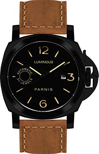 PARNIS 9064 klassische Edelstahl-Automatik-Uhr 10BAR Wasserdicht 44mm Saphirglas Herren-Uhr Lederarmband MIYOTA Markenuhrwerk Kaliber 821A