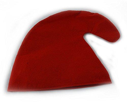 Zwergenmütze in rot für Erwachsene - Zwergen Hut Mütze Zwergenkostüm (Roten Hut Erwachsene)