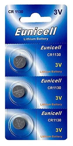 Eunicell 3 x CR1130 3V Lithium Knopfzelle 48 mAh (1 Blistercard a 3 Batterien) EINWEG
