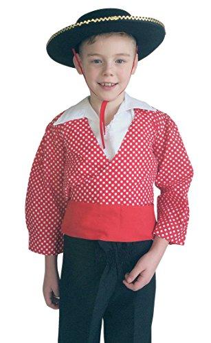 Junge Flamenco Kostüm - La Senorita Spanische Flamenco Kostüm Chico Jungen rot weiß (Größe 6 - 104-110, rot)