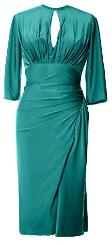 MACloth Elegant Half Sleeve Cocktail Dress Knee Length Jersey Formal Party  Gown Teal