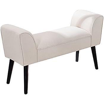 sitzbank scarlett gepolstert creme mit armlehnen und massivholz beinen 90 cm bank polsterbank. Black Bedroom Furniture Sets. Home Design Ideas