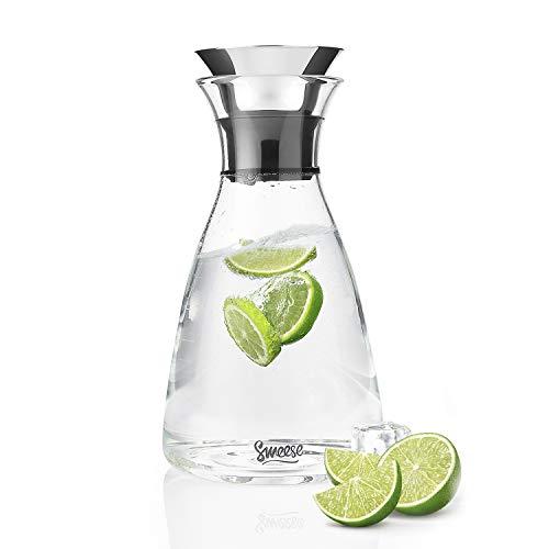 Sweese Karaffen - 1 Liter Wasserkrug Hitzebeständigkeit Wasserkaraffe mit Edelstahl und Silikon Tropf-Freie Lippe, Glaskaraffe Serving Hausgemachte Säfte und Eistee, Wein oder Glas Milchflaschen -