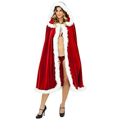 Zantec Weihnachs Hallowmas Schmuck Dekoration, Rot Cloak Deluxe Plüsch Santa Kapuzen Cape Kostüm Sexy - Rote Plüsch Santa Kostüm